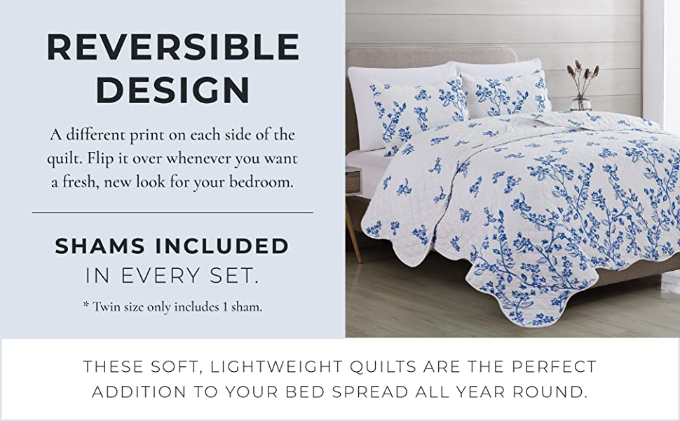 reversible design, small florets on white background, wonderful bed spread year round