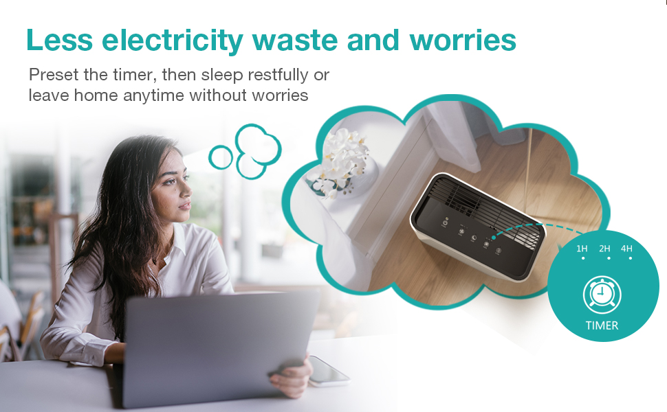use the timer to preset shutoff time to save electricity when you forgot to turn it off