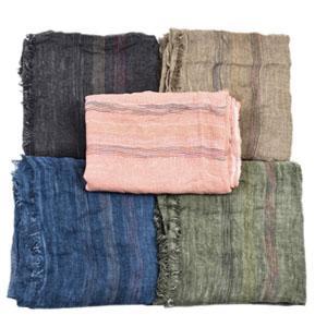 Men Women Soft Cotton Linen Solid Color Striped Scarf