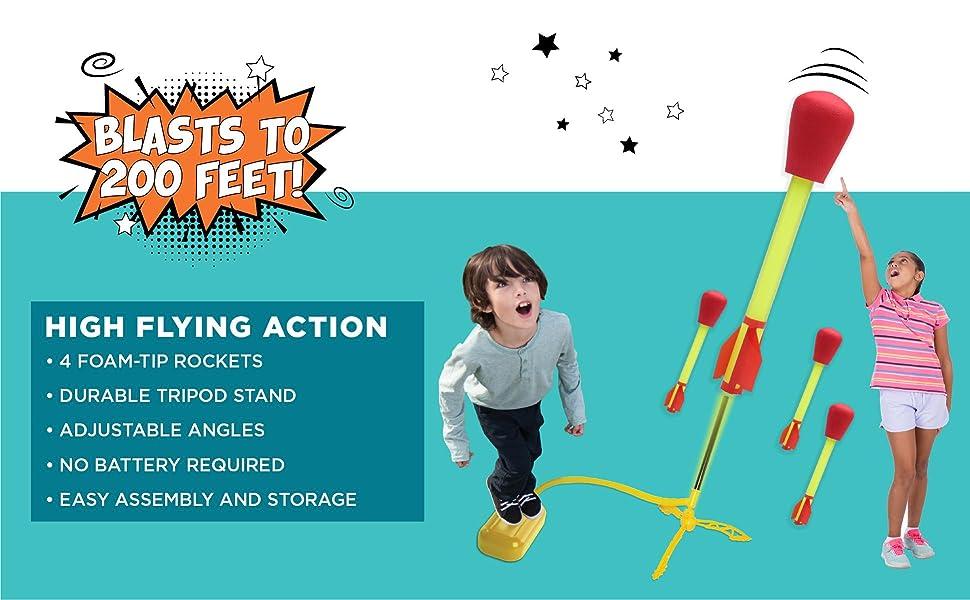 stomprocket blast off shoots to 200 feet year round active play outdoor indoor STEM fun kid powered
