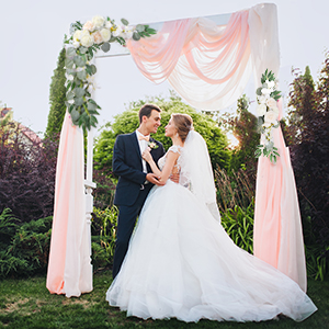 faux flowers for wedding arch