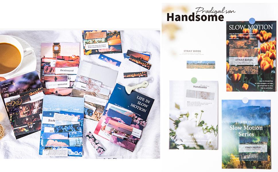 Feuilles Stickers en Papier Paysage Naturel Belle Scène de Vie Fleurs d'été Feux d'Artifice
