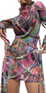 Sexy See Through Mesh Long Sleeve Dress
