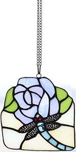 Bieye W10077 Dragonfly Flower Tiffany Stained Glass Suncatcher