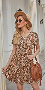 Women's Summer Short Sleeve Casual Short Sundresses with Pockets