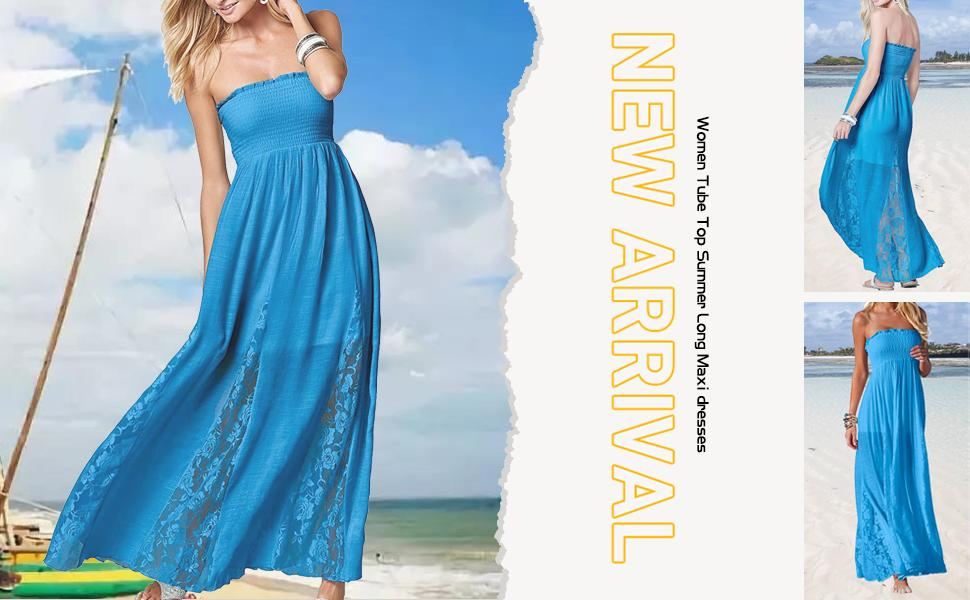 women tube top summer long maxi dresses