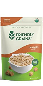 Friendly Grains Allergy Friendly Caramel Crunch Cereal. Puffed Brown Rice.