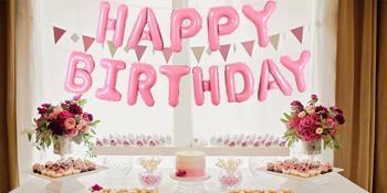 pink happy birthday balloons banner