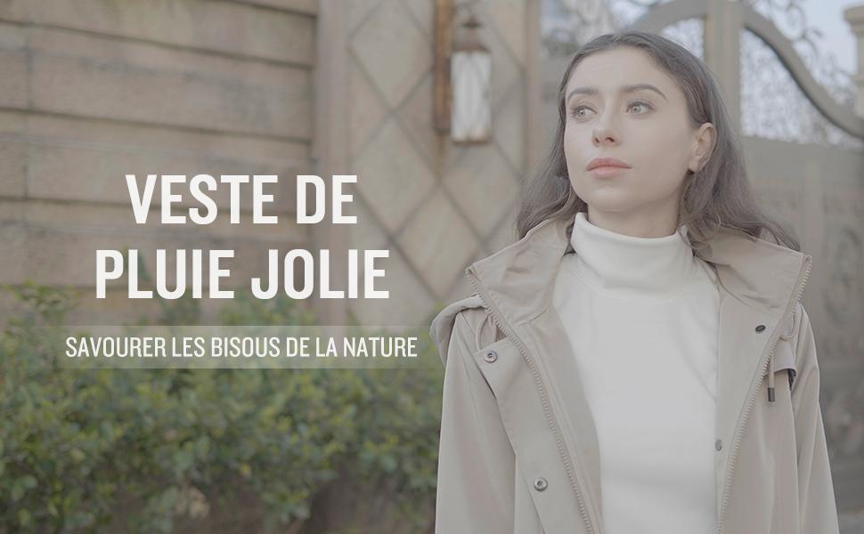 SaphiRose PONCHO Veste de Pluie Longue pour Femme Manteau à Capuche Coupe-Vent Imperméable d'Extérieur