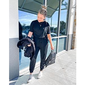 Black Two Piece Pants Set For Women