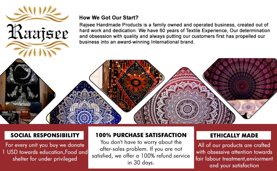blue orange mandala tapestry all 4 sizes available