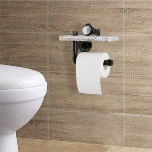 toilet paper shelf with small items