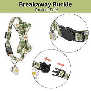 JOYPAWS Green Breakaway Cat Collar Bell Bow Tie Adjustable Safety Kitten Collars Ideal Size