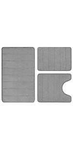 Grey Memory Foam Bathroom Rug Set 3 Piece