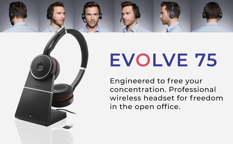 jabra headsets evolve 65 75 auriculares great battery life noise cancelling bluetooth soundproof