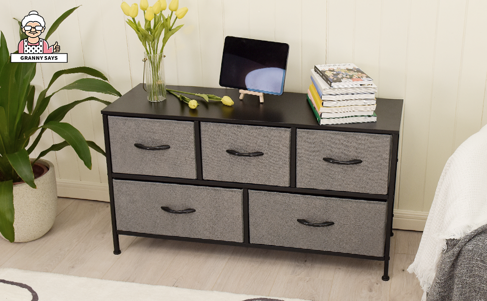 GRANNY SAYS Wide Dressers with 5 Drawers