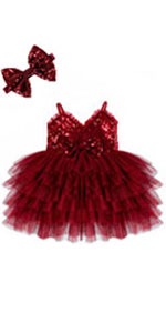 newborn-baby-burgundy-Christmas-Dress