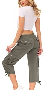 Womens Cargo Capris Hiking Pants Lightweight Quick Dry Athletic Casual Outdoor