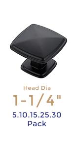 Matte Black Kitchen Cabinet Square Knob Single Hole Cabinet Hardware