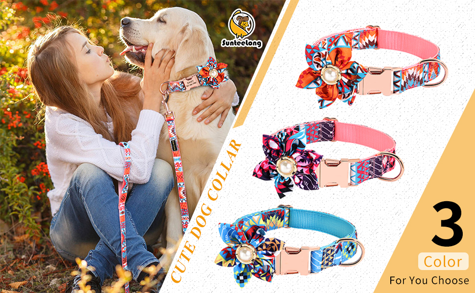 Dog Collars with Detachable Flower Cute pet Dog Collar