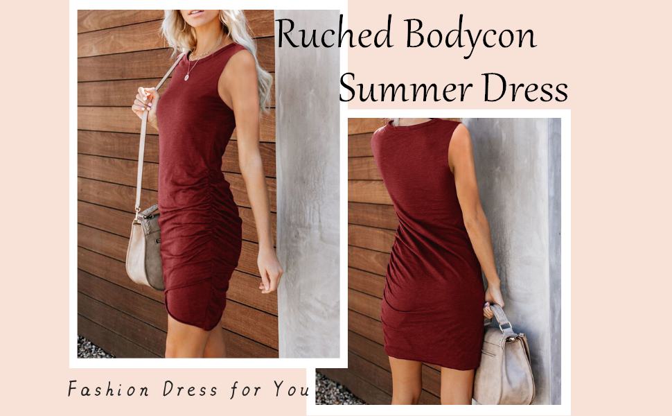 Womens Casual Ruched Stretchy Bodycon Dress