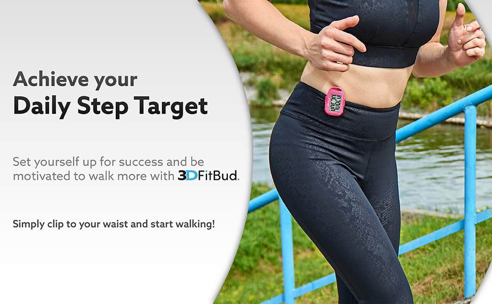 Achieve your daily step target. Be motivated to walk more with 3DFitBud.
