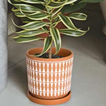 Geometric Patterns Plant Pot Flower Planter with Drainage Hole /Ceramic Tray