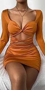 V Neck Cut Out Club Bodycon Mini Dress