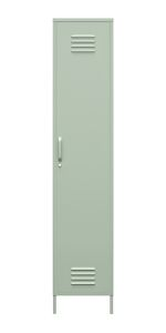 Single metal locker storage cabinet with one door and one handle in pale green