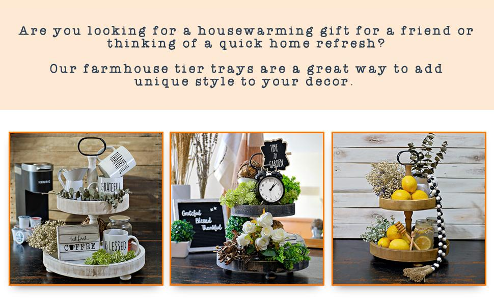 2 tier stand rae dunn items teired tray server farmhouse tiered tray wood decorative tier tray