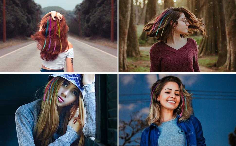veri ciocche colorate per capelli,bambina capelli ,finti extension clip extension colorate