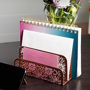 Desk Organizer Mail Sorter Rose Gold Sunflower