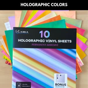 kassa holographic vinyl sheets permanent adhesive shiny opal changing crafting paper