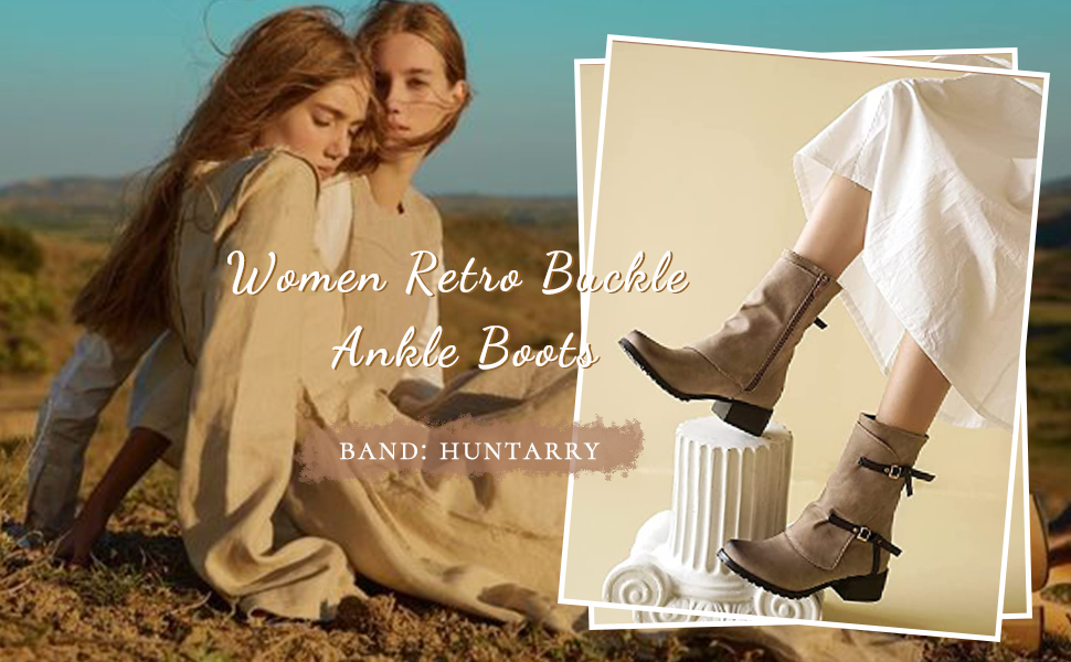 Retro Buckle Ankle Boots