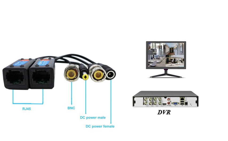 Video Balun RJ45 Transceiver Transmitter