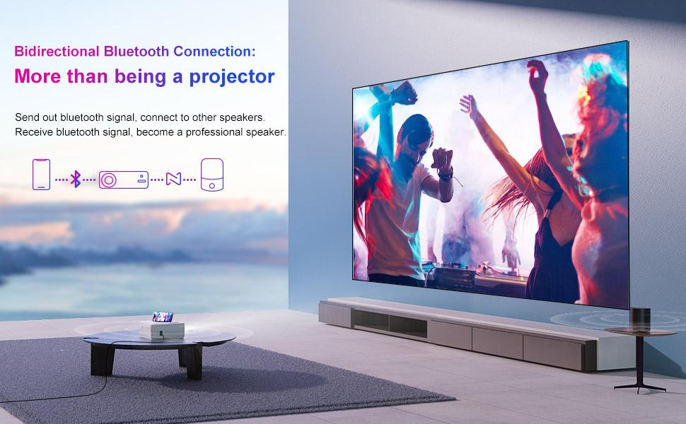 4K Projector, WIFI Bluetooth Projector, 4P Video Proejctor