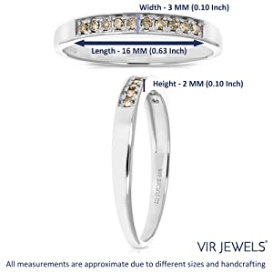 Vir Jewels 1/10 cttw Champagne Diamond Ring Wedding Band .925 Sterling Silver 10 Stones