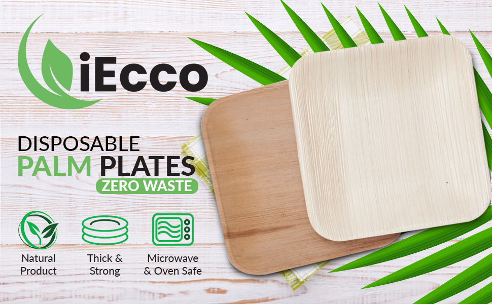 Disposable palm plates. Zero Waste. Natural Product. Thick and strong. Microwave and Oven safe