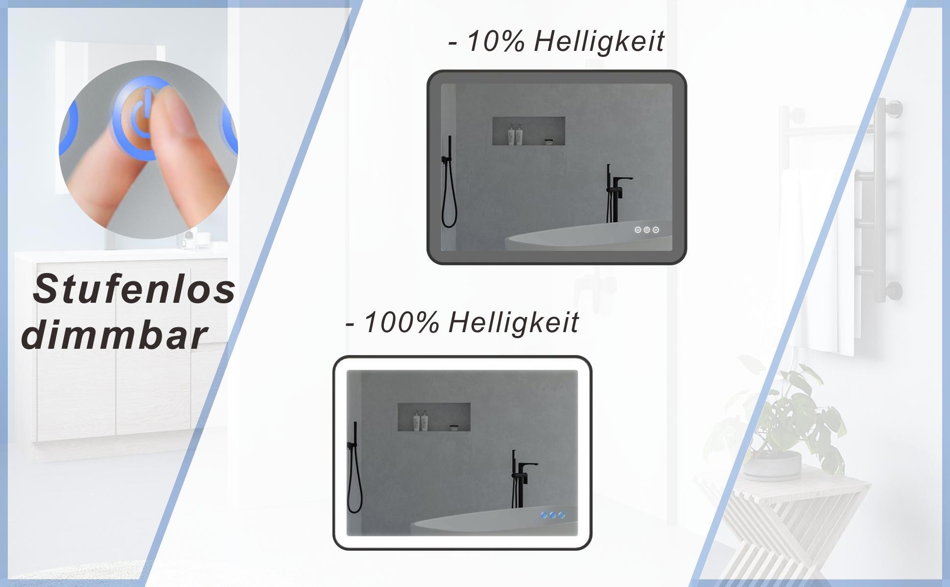 Badezimmerspiegel mit LED Licht Schwarzer Rahmen 80x60cm GARDES Typ C