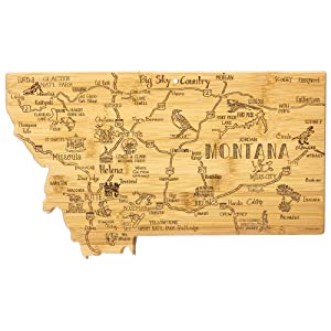 Totally Bamboo Destination Montana State Shaped Serving and Cutting Board