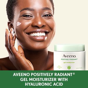 Woman applying Aveeno Positively Radiant Gel Facial Moisturizer with hydrating hyaluronic acid