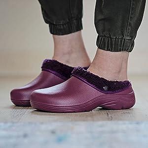 Womens ladies garden clogs lined fluffy warm fleece lining soft winter garden shoes cosy