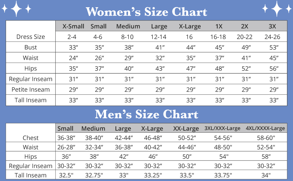 Family Set Size Chart Extended Sizing