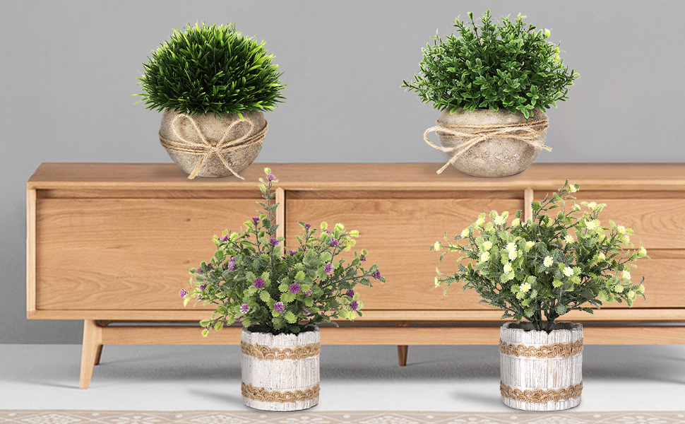 artificial greenery in potted