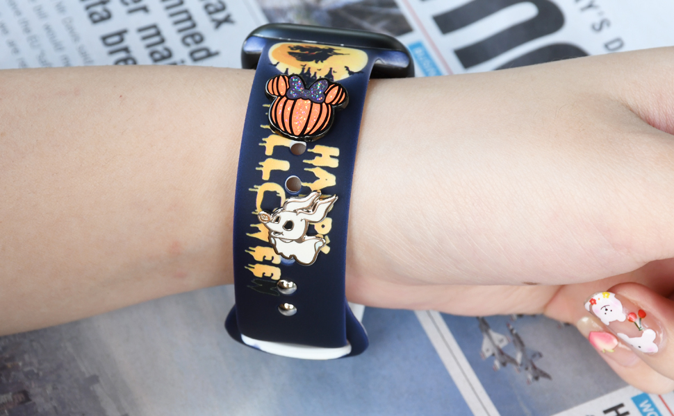 Idealiveny Halloween Watch Band Charms Accessories Compatible with Iwatch Series 6 5 4 3 2 1