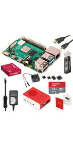 Marstudy Raspberry Pi 4 Model B Starter Kit 4GB RAM  SanDisk 32GB マイクロSD カード