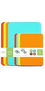 8pk Colored Non-Slip Cutting Boards