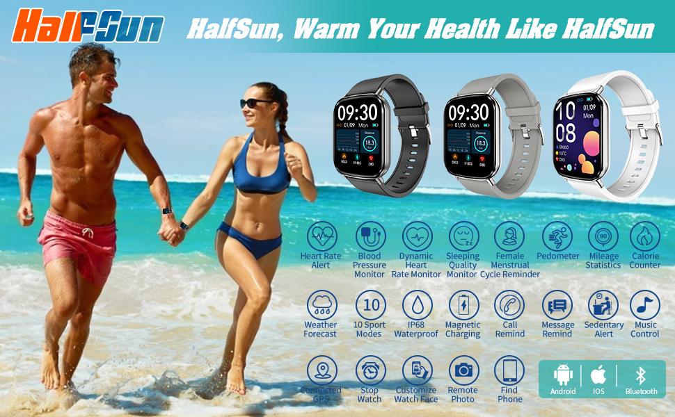 HalfSun Smart Watch Fitness Tracker