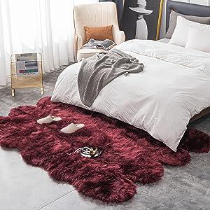 faux fluffy plush sheepskin fur rug soft non slip comfortable