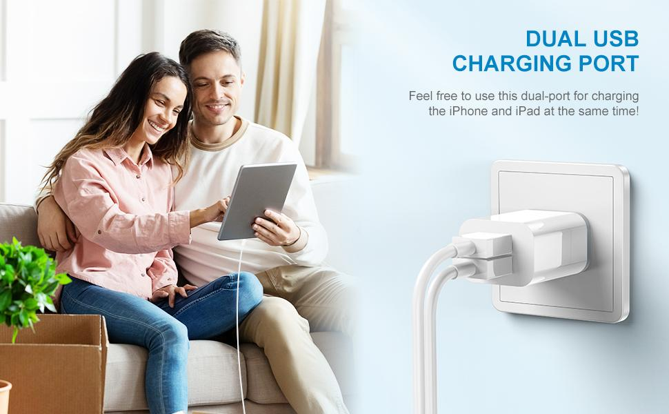 dual usb wall charger with 2 lightning cable